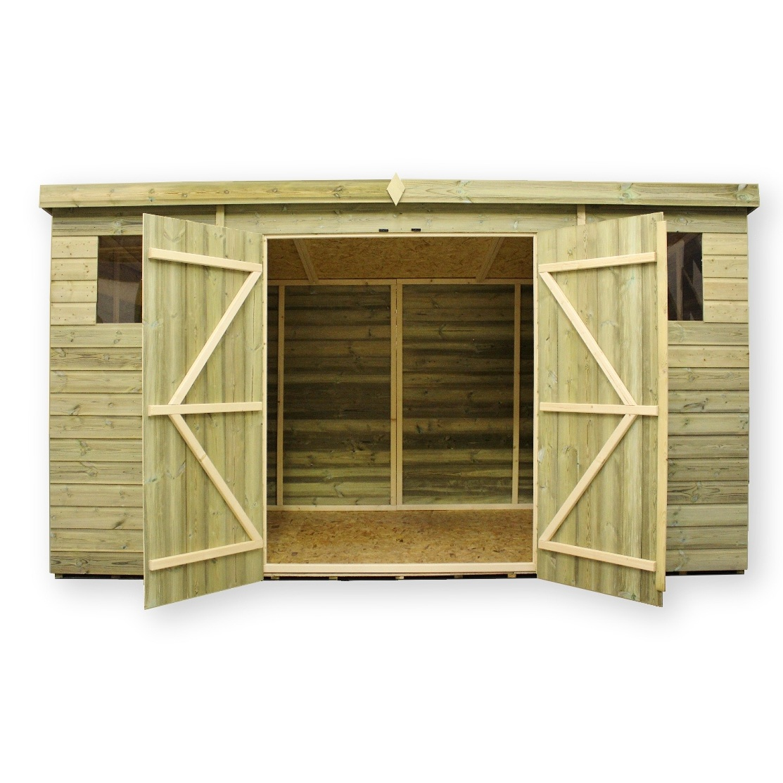 Empire 12X8 Pent Garden Shed With Double Door And Windows